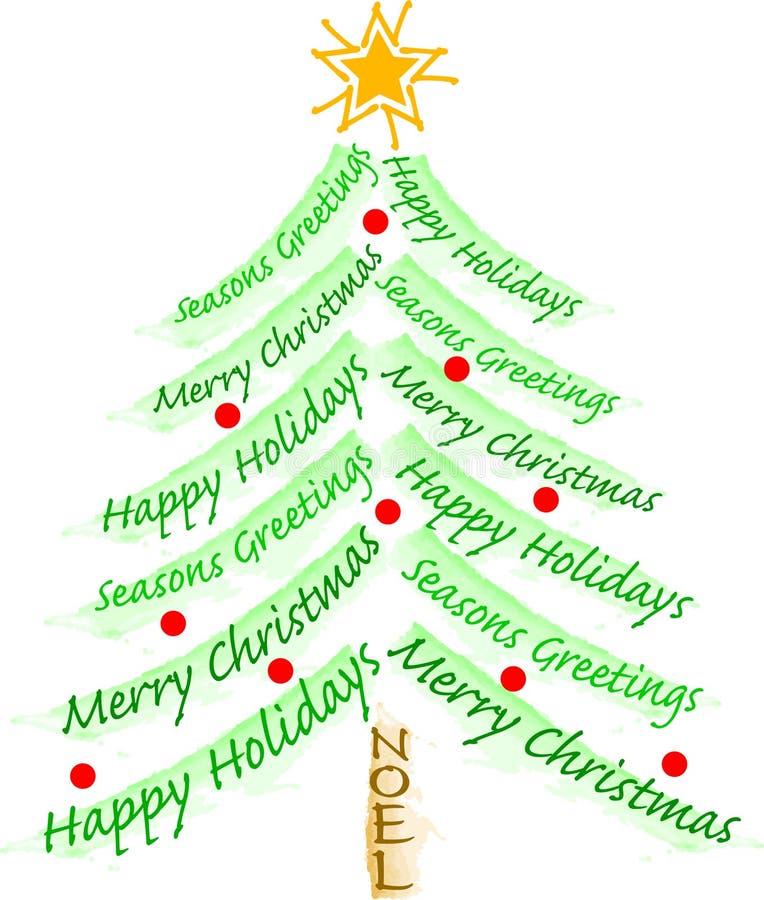 arbre de salutation de Noël ENV illustration de vecteur