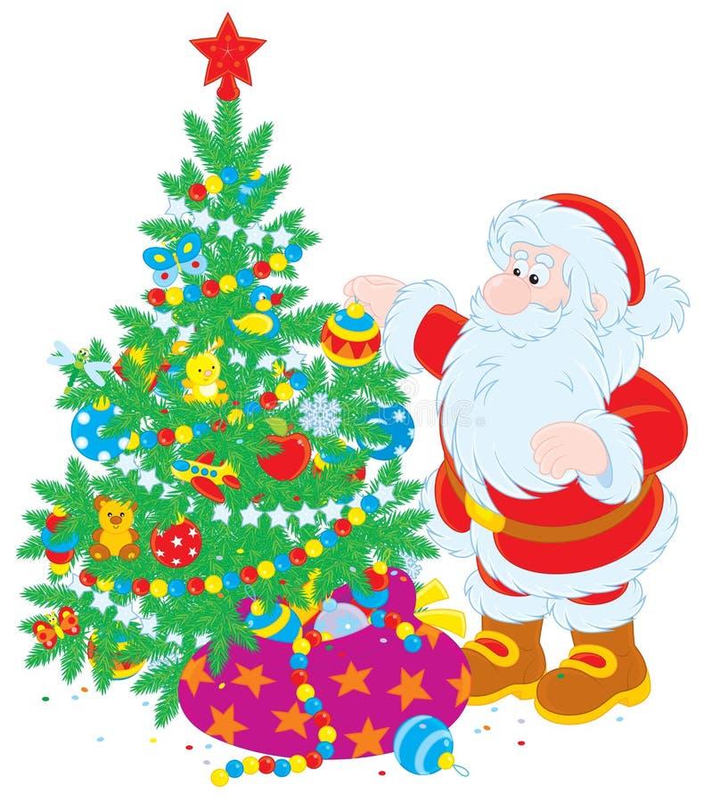 Arbre de Santa et de Noël illustration stock