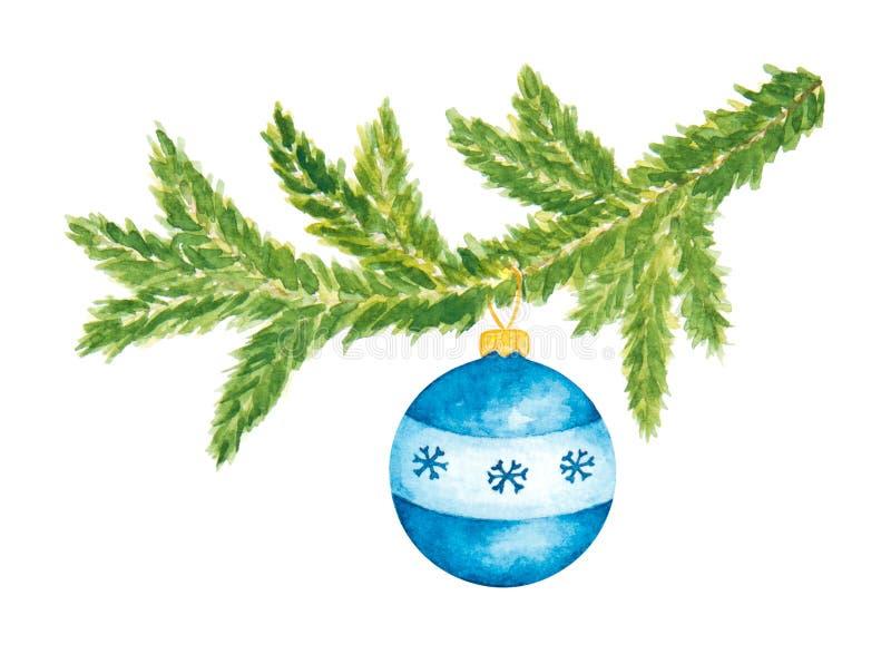 Arbre de sapin à feuilles persistantes de Noël avec la boule en verre bleue Aquarelle peinte D'isolement sur le blanc illustration de vecteur