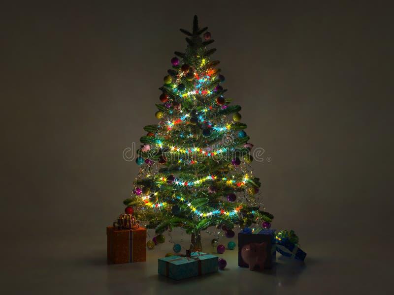 Arbre de sapin décoré de nuit de Noël déchirer 3D photographie stock libre de droits