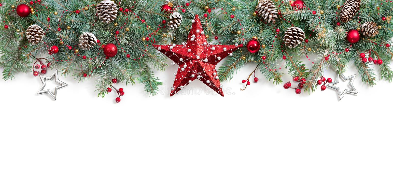 Arbre de sapin de Noël décoré images libres de droits