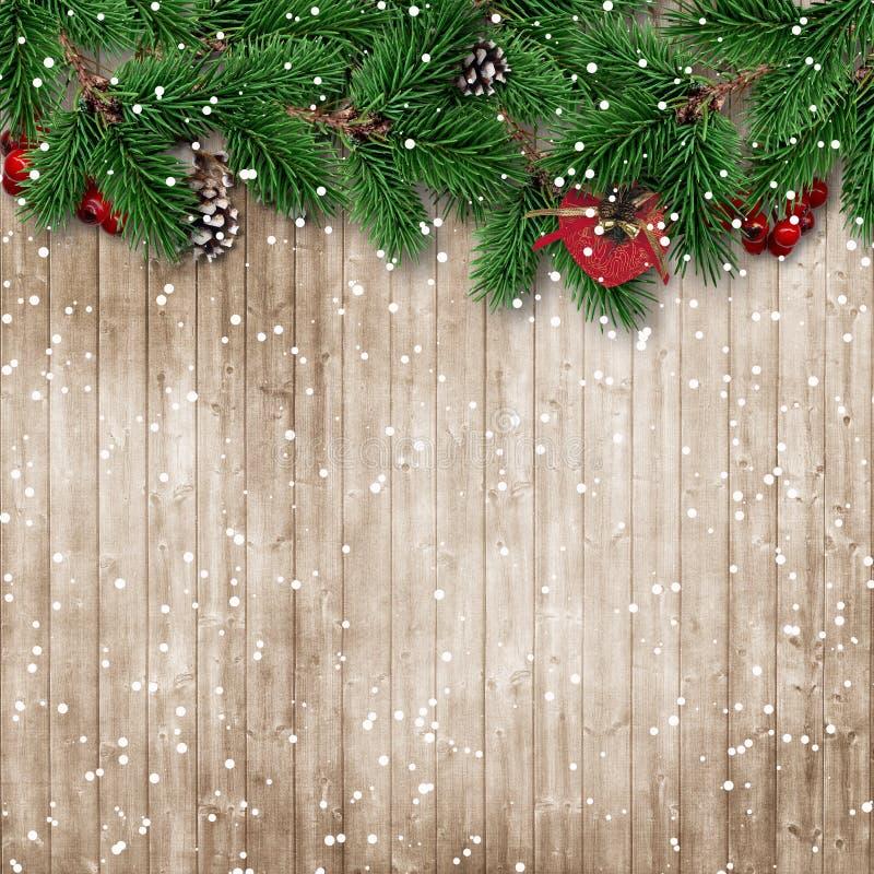Arbre de sapin de Noël sur le fond en bois neigeux illustration de vecteur