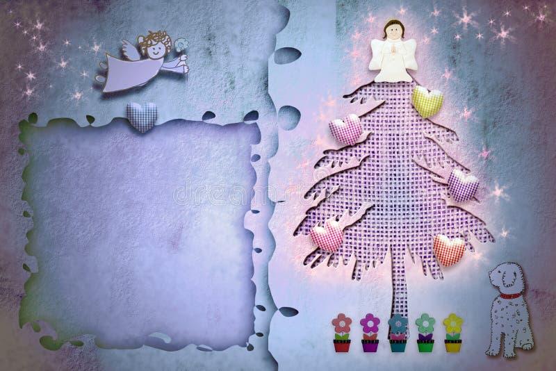 Arbre de sapin mignon de carte de cadre de salutation de Noël illustration de vecteur