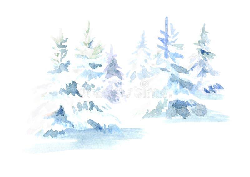 Arbre de sapin de Noël de forêt d'hiver avec la neige Illustration tirée par la main d'aquarelle, d'isolement sur le fond blanc illustration de vecteur