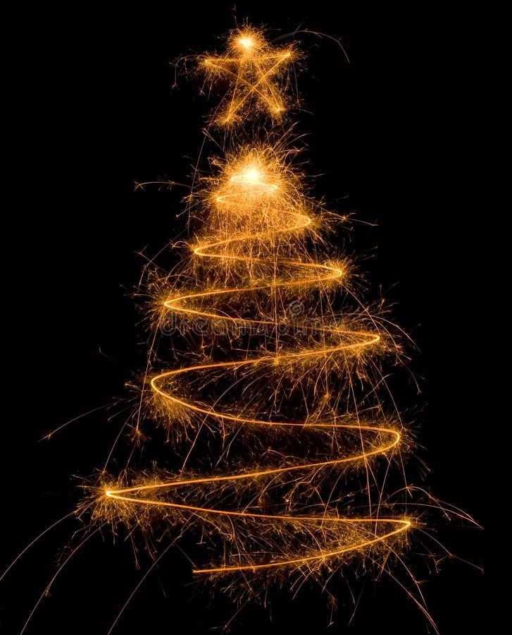 arbre de sparkler de Noël photographie stock libre de droits