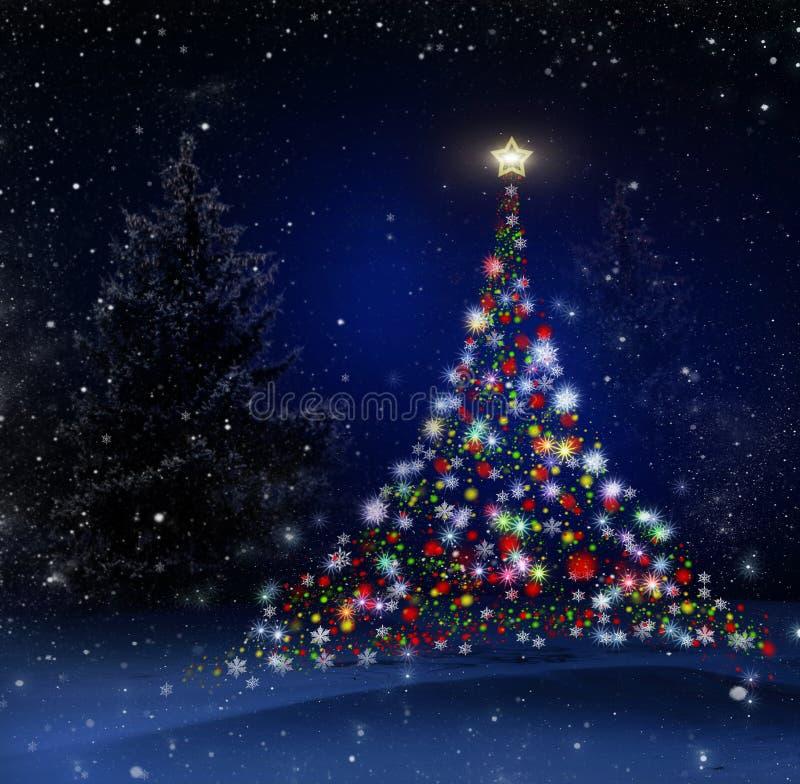 arbre de technique de peinture de Noël de fond seul Fond illustration libre de droits