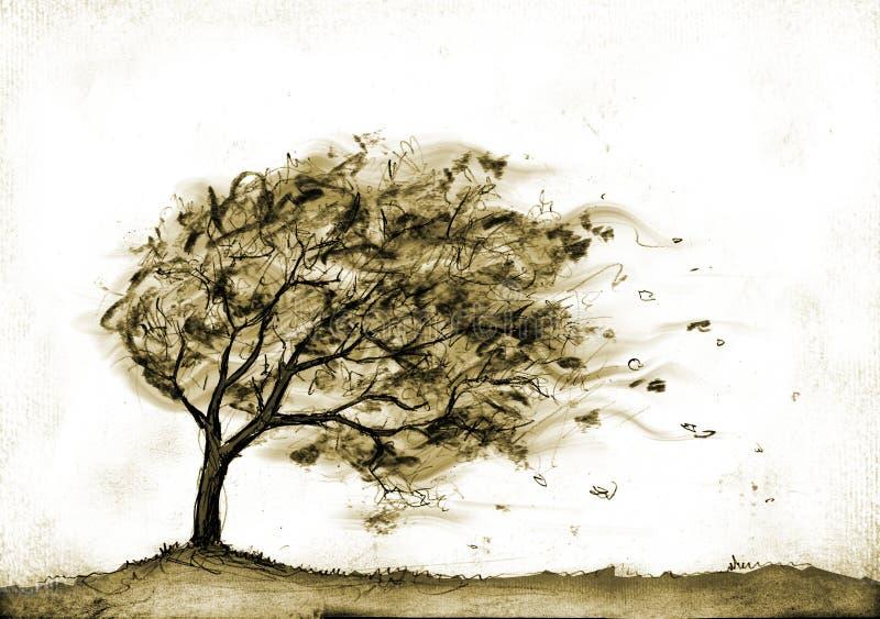arbre de tempête d'automne illustration stock