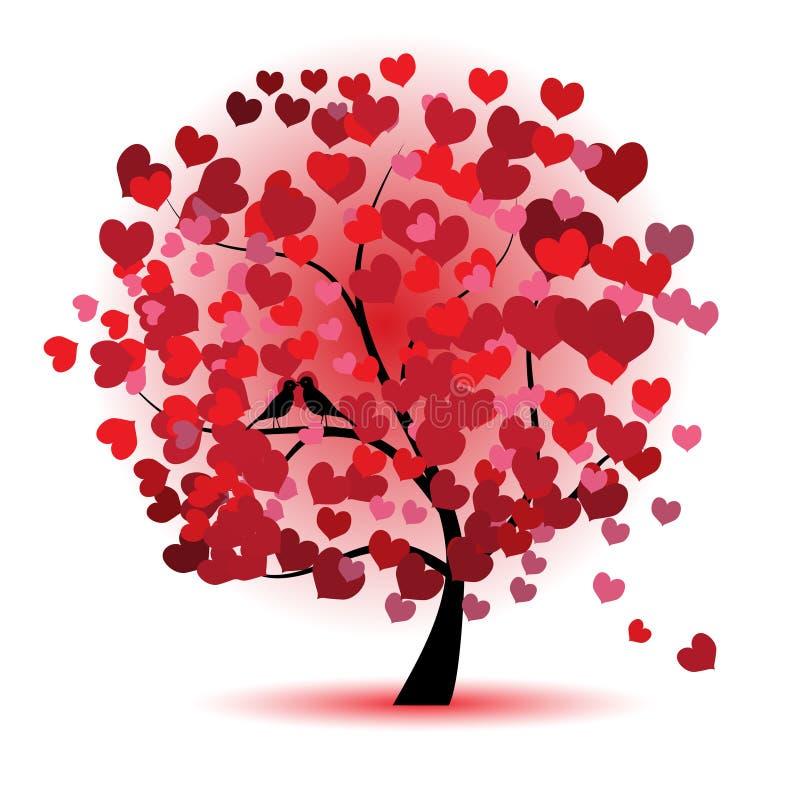 Arbre de Valentine, amour, lame des coeurs illustration stock