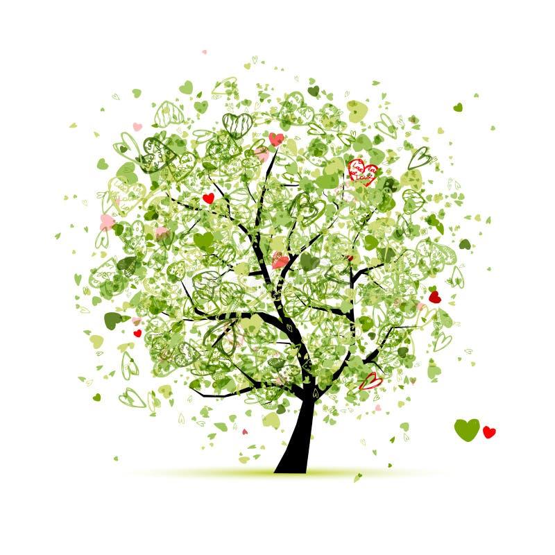 Arbre de Valentine avec des coeurs pour votre conception illustration stock