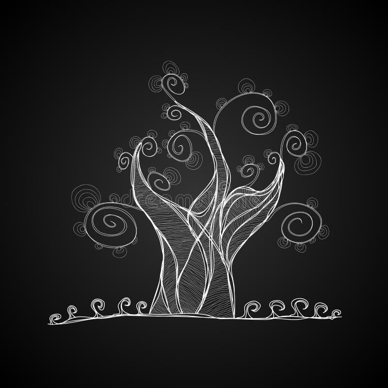 Arbre de vecteur, couleur noire et blanche illustration libre de droits