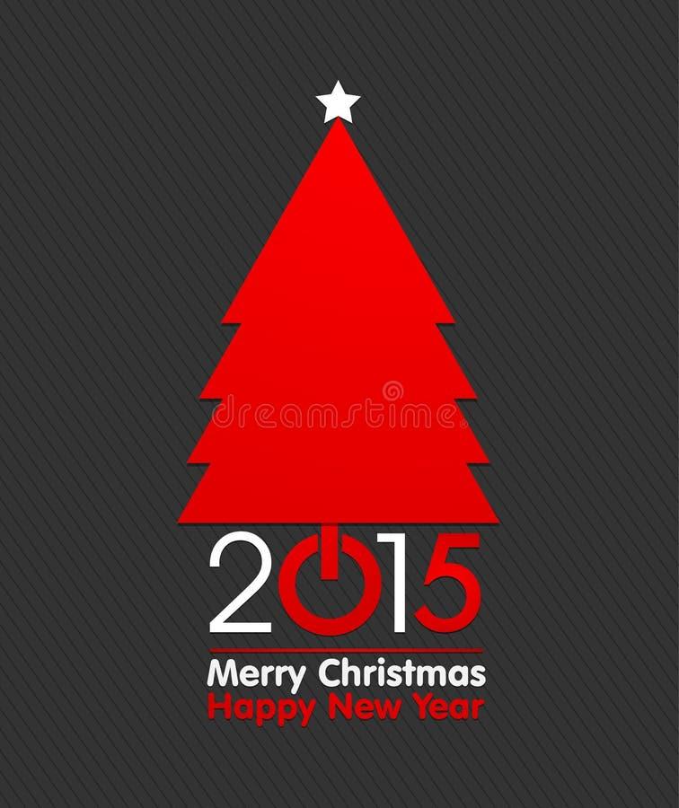 Arbre du Joyeux Noël 2015 illustration de vecteur