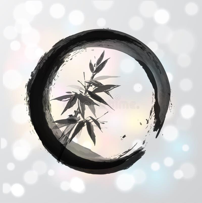 Arbre en bambou en cercle dans le sumi-e de style japonais illustration libre de droits