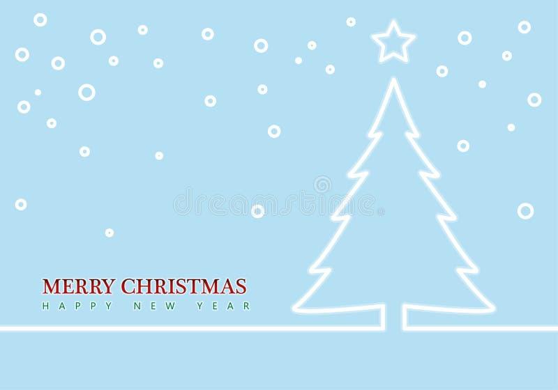 Arbre et étoiles de Noël d'ensemble cardez la salutation de Noël fond abstrait minimal Vecteur illustration libre de droits
