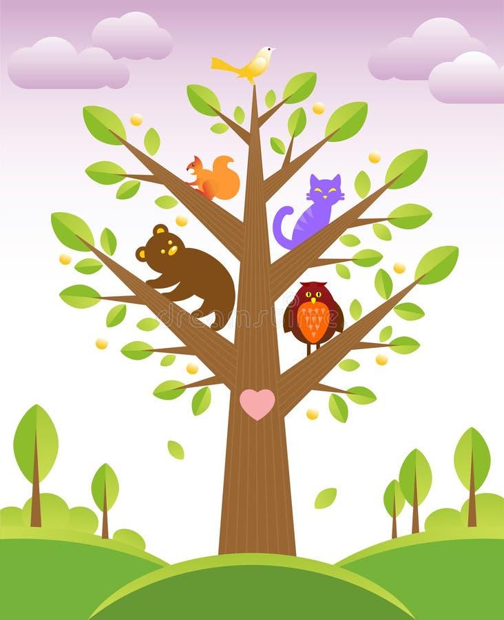 Arbre et animaux mignons illustration stock