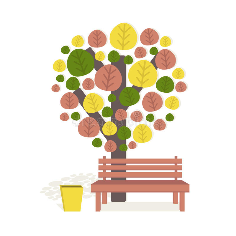 Download Arbre et banc d'automne illustration de vecteur. Illustration du conception - 76084893