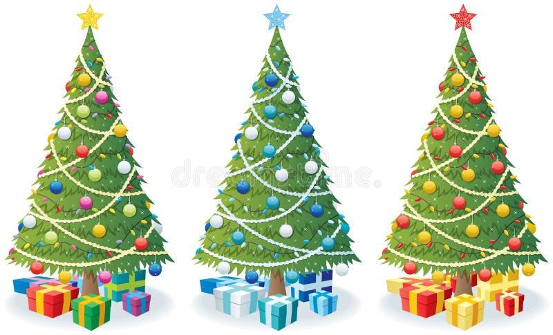 Arbre et cadeaux de Noël illustration de vecteur