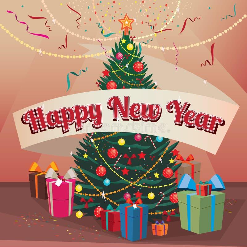 Arbre et cadeaux de Noël de bonne année à la maison illustration stock