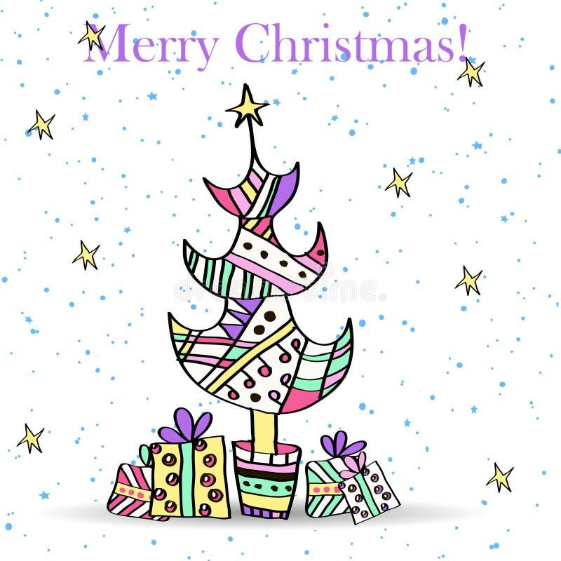 Arbre et cadeaux de Noël stylisés. illustration stock