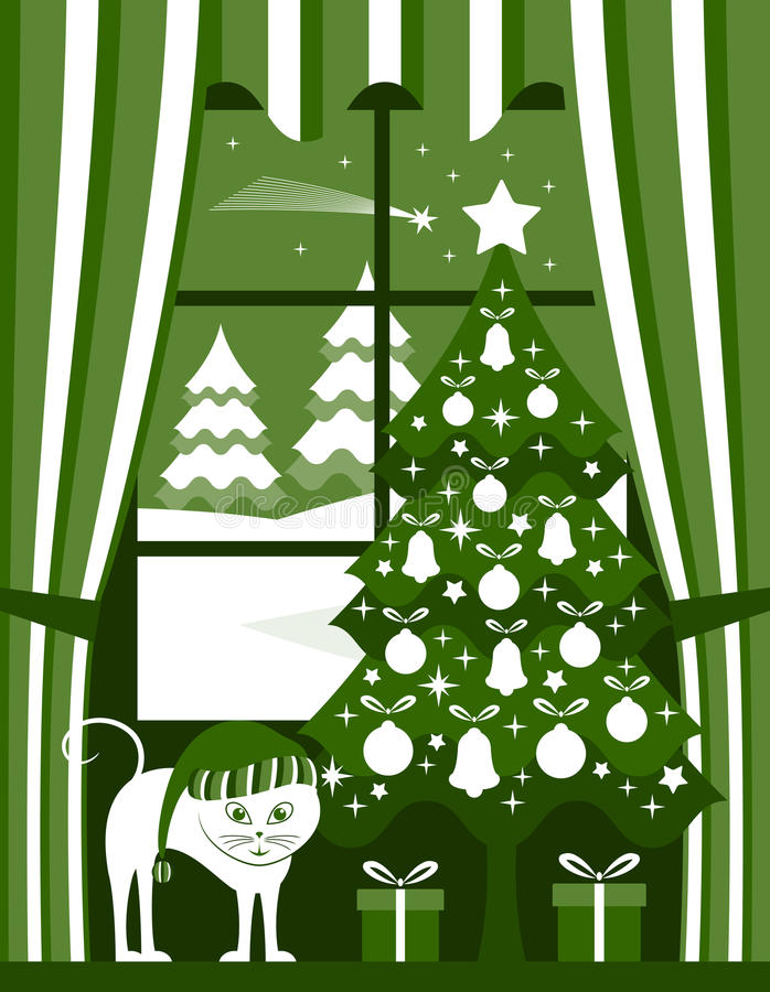 Arbre et chat de Noël illustration de vecteur