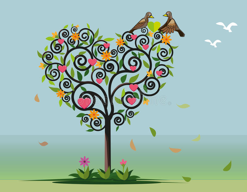 Arbre et deux oiseaux dans l'amour - illustration illustration de vecteur
