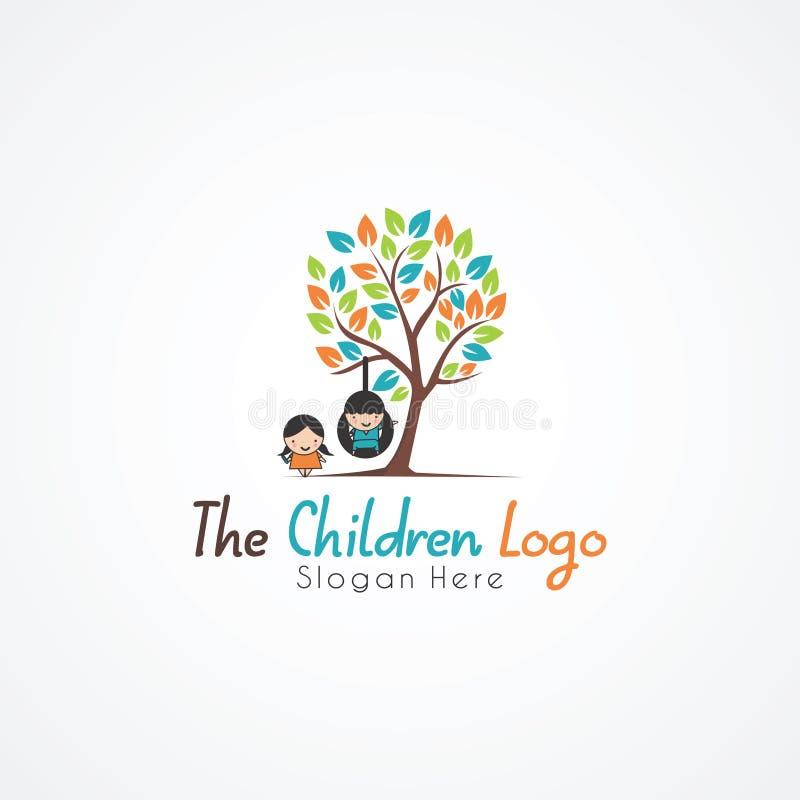 Arbre et enfants Logo Template Illustrateur ENV de vecteur 10 illustration stock