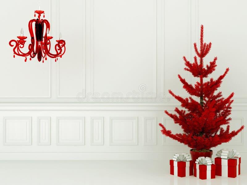 Arbre et lampe de Noël rouges image libre de droits