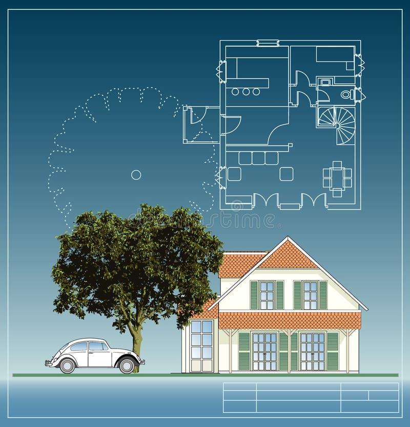 Arbre et maison illustration de vecteur