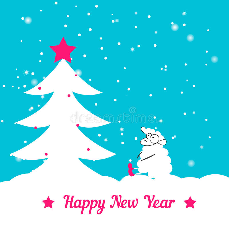 Arbre et moutons de Noël illustration de vecteur