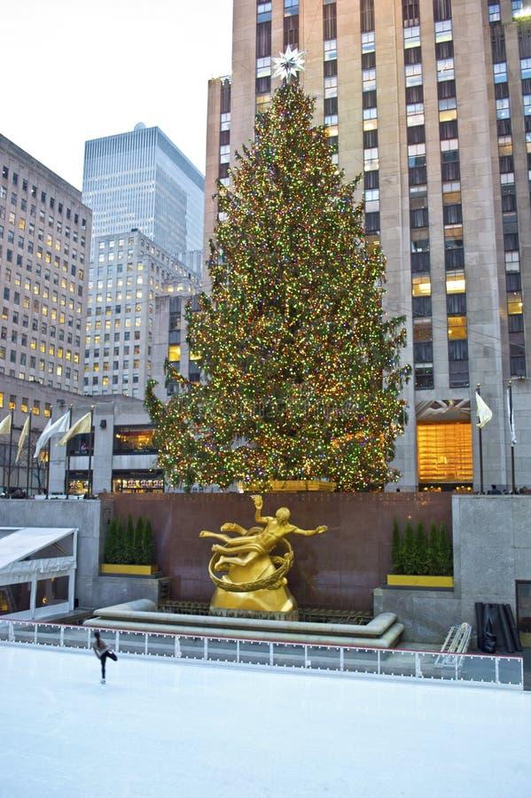 Arbre et patinoire centraux de Rockefeller images libres de droits