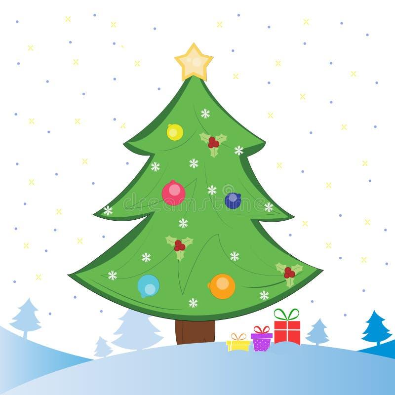 Arbre et présents de Noël sur le champ de neige illustration stock