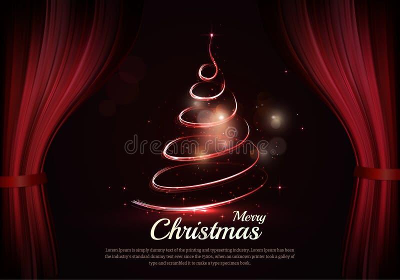 Arbre et texte de Noël brûlants dans les coulisses illustration de vecteur