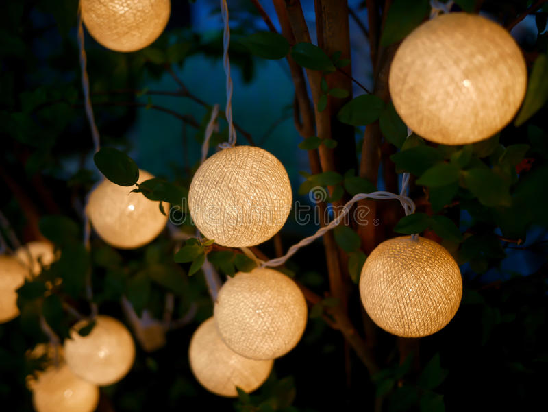 Arbre extérieur avec les lumières circulaires décorées, lumière de lampe images stock