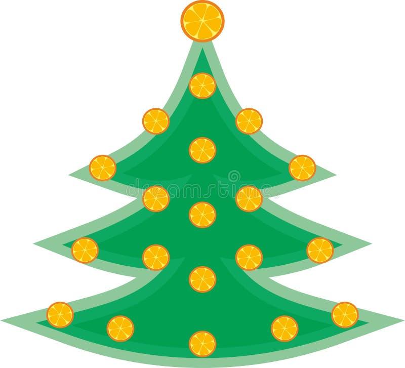 Arbre facile vert avec les oranges de séchage illustration de vecteur