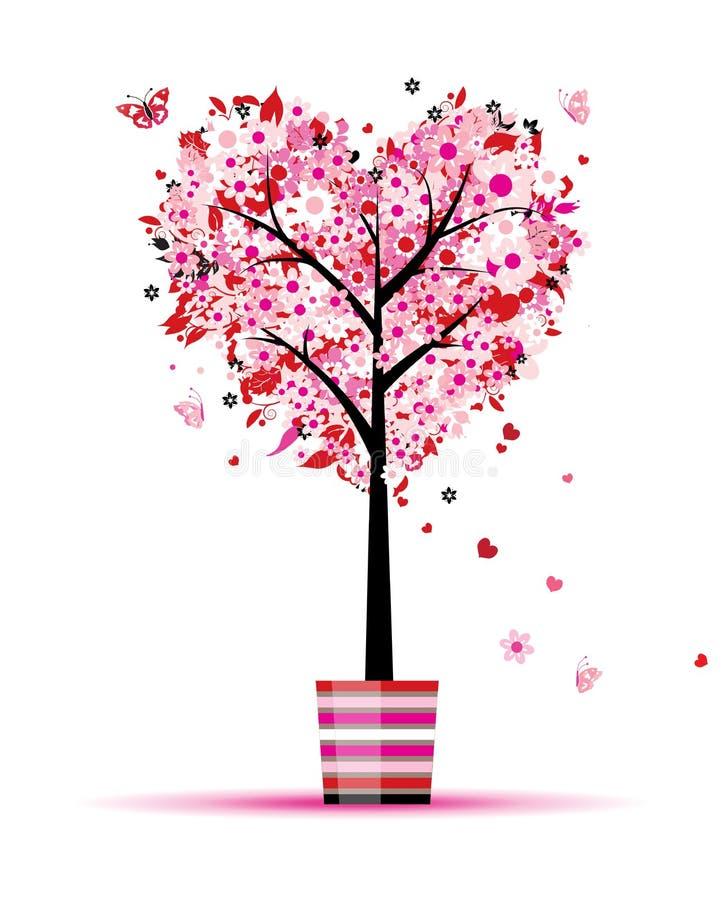 Arbre floral d'été, forme de coeur dans le bac illustration libre de droits