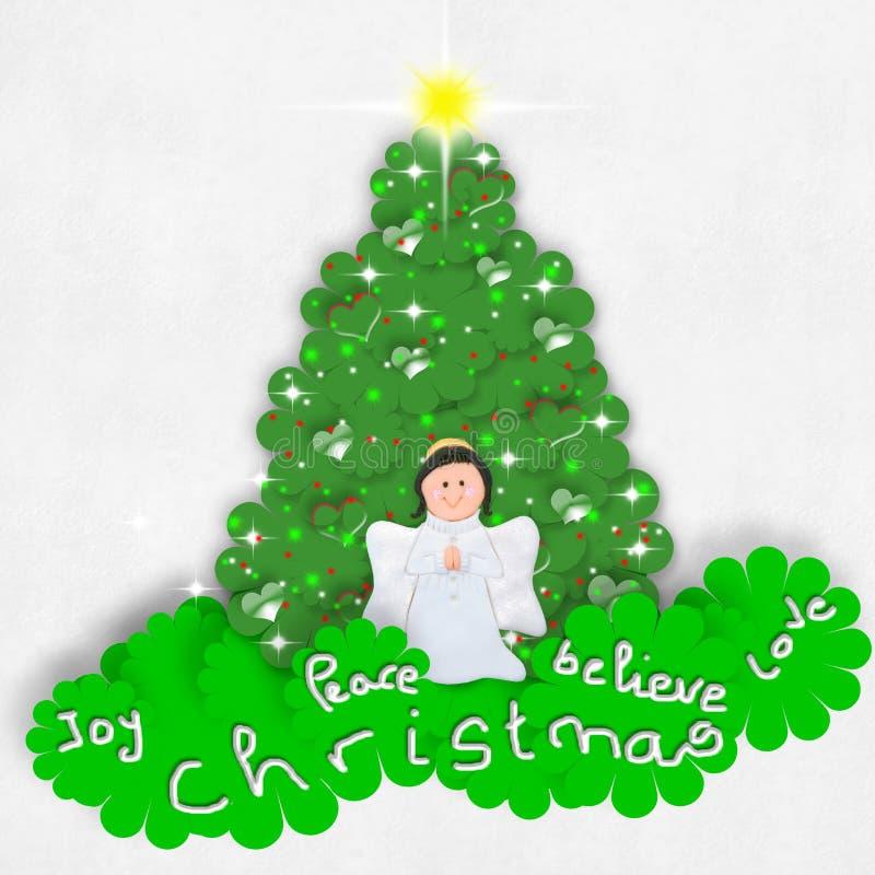 Arbre heureux d'ange et de Noël illustration de vecteur