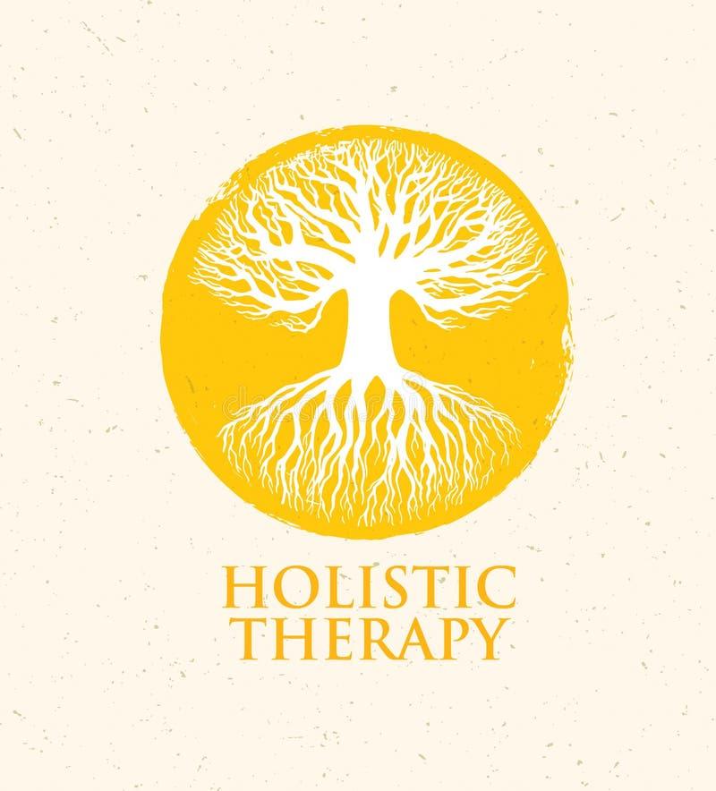 Arbre holistique de thérapie avec des racines sur le fond de papier organique Concept écologique naturel de vecteur de médecine illustration de vecteur
