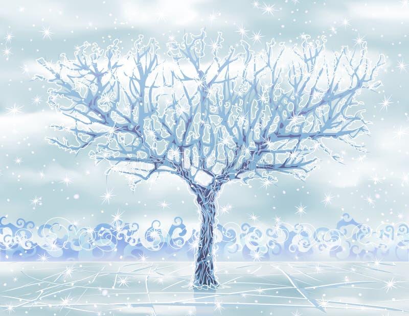 Arbre ice-covered de l'hiver de vecteur illustration stock