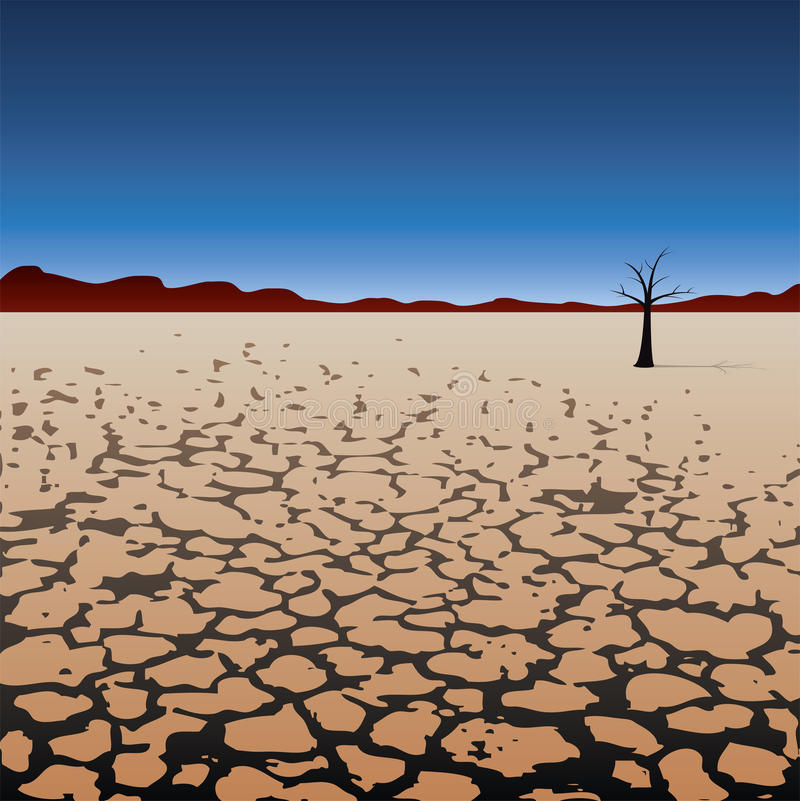 arbre isolé de vecteur dans le désert sec illustration libre de droits