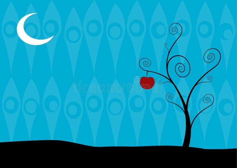 Arbre isolé la nuit sur le fond bleu. Art de vecteur illustration stock