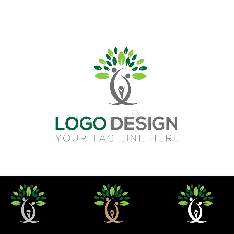 Arbre Logo Design, logo abstrait d'arbre généalogique, arbre avec des beaucoup branche et feuille illustration de vecteur
