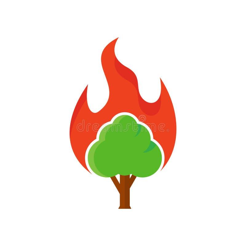 Arbre Logo Icon Design de brûlure illustration de vecteur