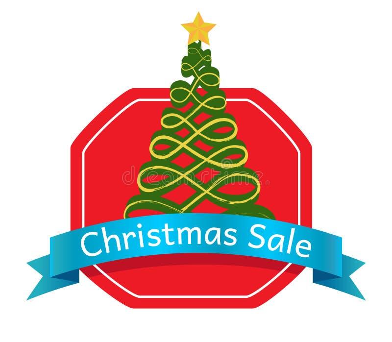 Arbre Logo Topped d'abrégé sur vente de Noël par l'étoile illustration de vecteur