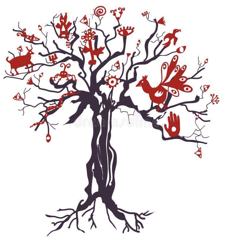 Arbre mystique avec des animaux et des symboles illustration stock
