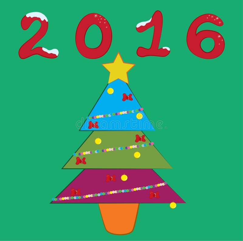 arbre 2016 newyear coloré illustration de vecteur