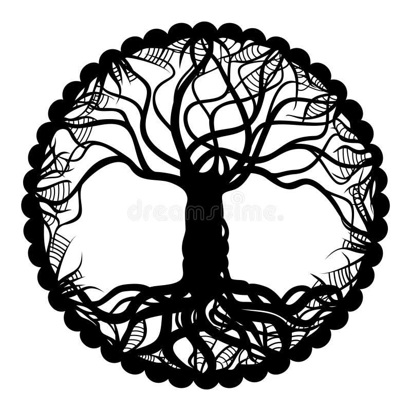 Arbre noir et blanc de médaillon de la vie illustration de vecteur