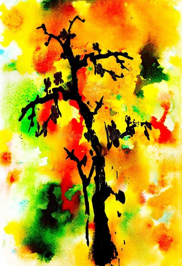 Arbre noir sur un fond multicolore lumineux Illustration d'aquarelle handmade illustration stock