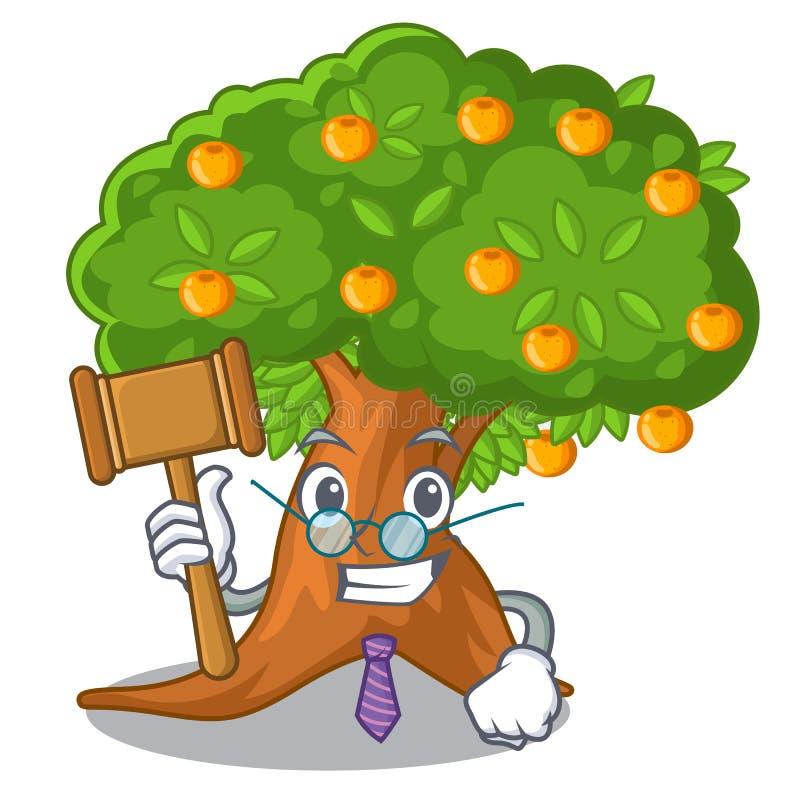 Arbre orange de bande dessinée de juge dans la cour illustration de vecteur