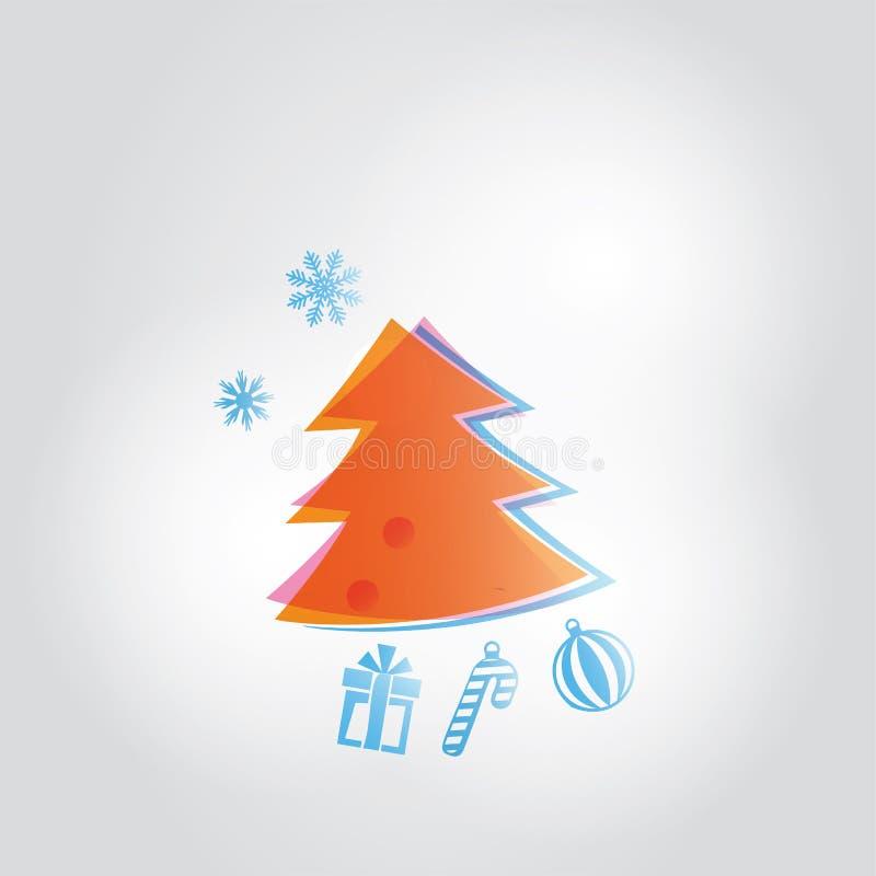 Arbre orange de Chrismas et décorations bleues de Noël sur le fond gris Photo ressemblant à l'aquarelle illustration de vecteur