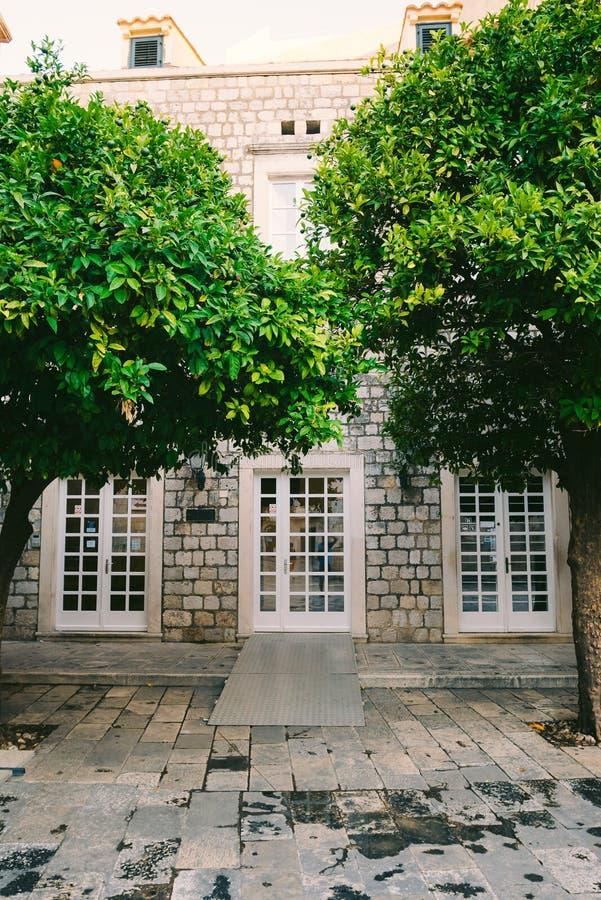 Arbre orange près de la maison en pierre photographie stock libre de droits