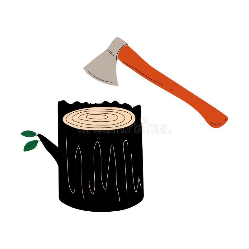 Arbre ou tronçon et hache abattus, déboisement, coupe des arbres, illustration écologique de vecteur de problème illustration stock